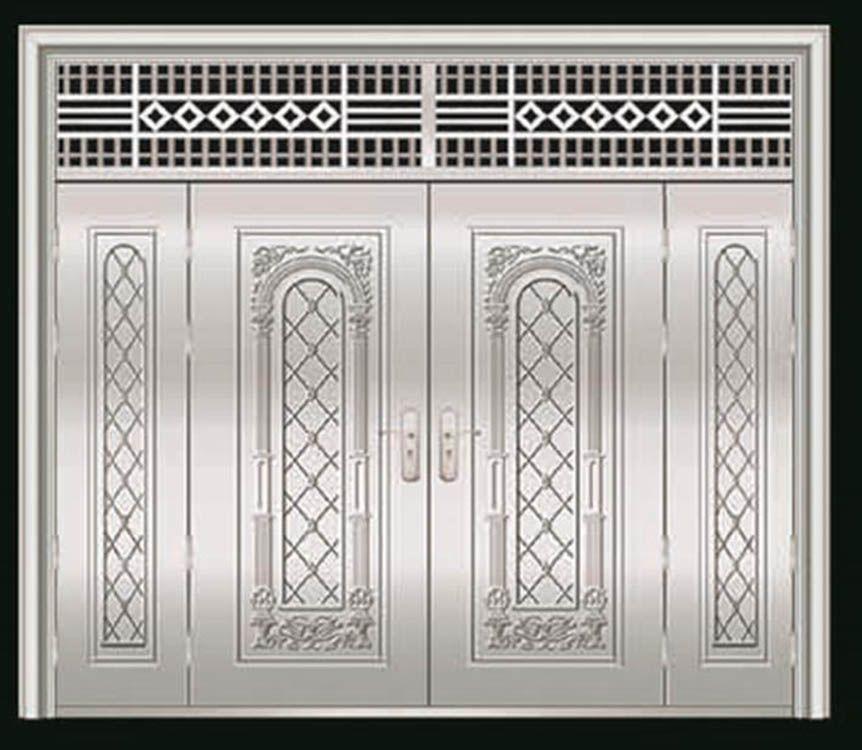 鑫广意四开大门和不锈钢门窗更加用得住具有耐磕碰耐酸碱防火防菌易清理卫生等特点