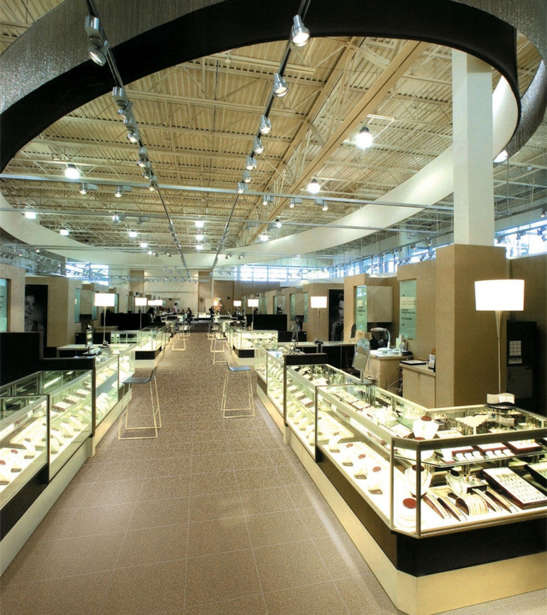 商场展示柜【鑫广意】五金框架与钢化玻璃组合打造梦幻购物环境安保系数高装饰功能明显