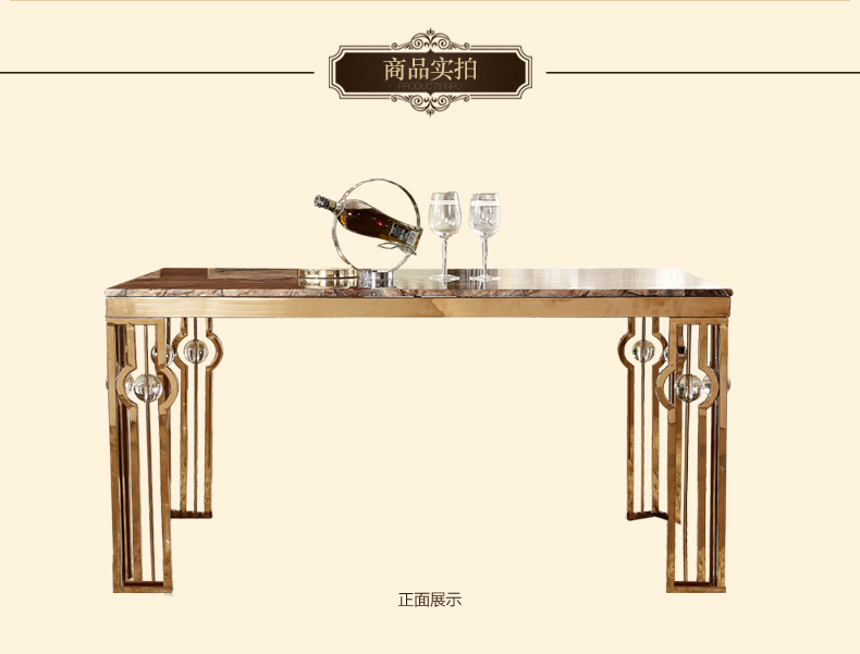 鑫广意不锈钢餐桌采用大理石材质整体色彩彰显宁静自然的风情