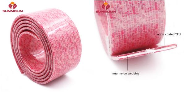 Pink waterproof plastic coated webbing wholesale