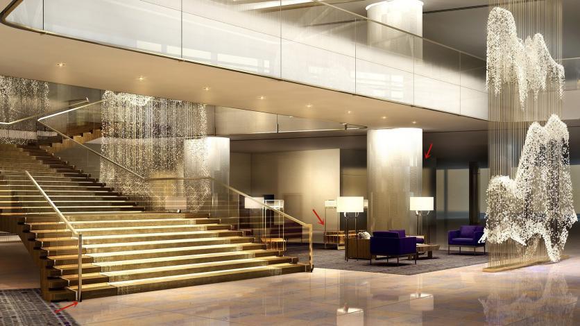 金属楼梯生产厂家鑫广意以科技手段定制富有欧陆艺术风情的酒店楼梯