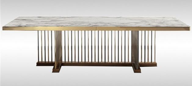 金属中式餐桌不锈钢复古餐桌以现代之形续写东方含蓄淡雅之意-鑫广意中式家具定制厂家