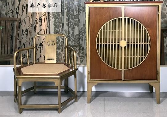 仿古金属靠背椅,新中式衣柜,金属茶几,复古扶手椅优选鑫广意家具定制厂家
