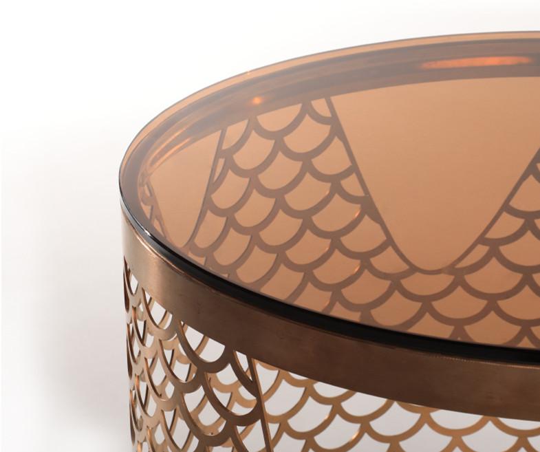 新中式风格的不锈钢茶几茶台茶桌定制轻奢之美中又注入了东方韵味的意境-鑫广意