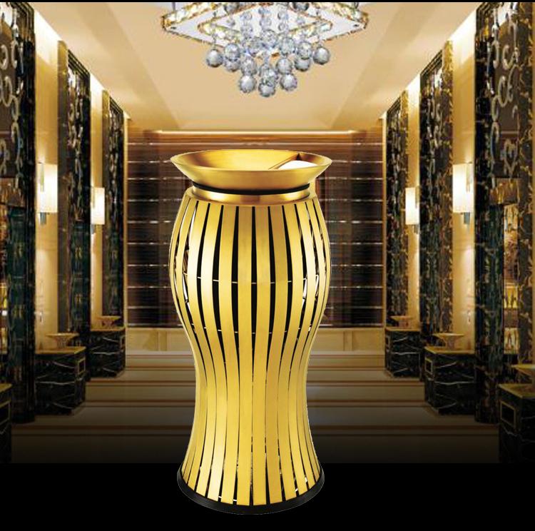 宾馆烟灰缸桶不锈钢酒店灭烟桶防水不生锈造型奢华时尚-鑫广意家具厂