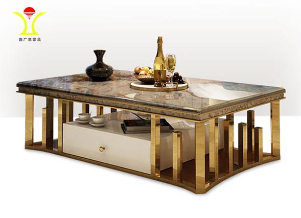 轻奢客厅家具大理石茶具桌高分子纳米无指纹工艺处理表面拉丝效果-鑫广意