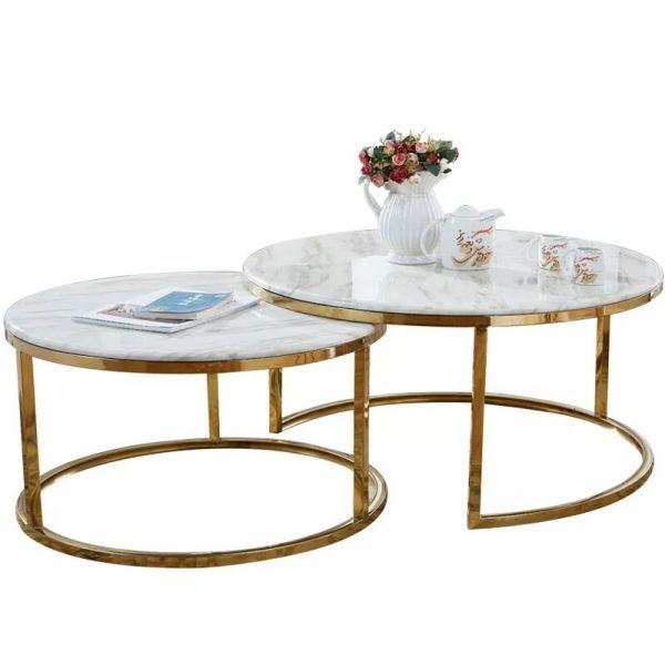 鑫广意成套组合圆茶几套装为了节省空间可以采取2件叠放小巧玲珑又规整