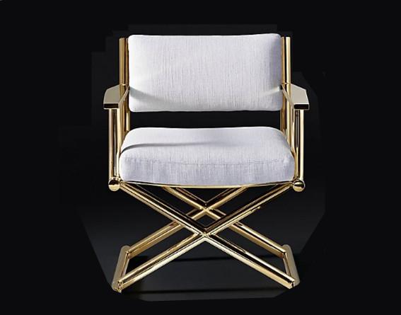 金屬扶手椅細膩的曲線弧度打造的不僅是藝術之美還很舒適放松_鑫廣意