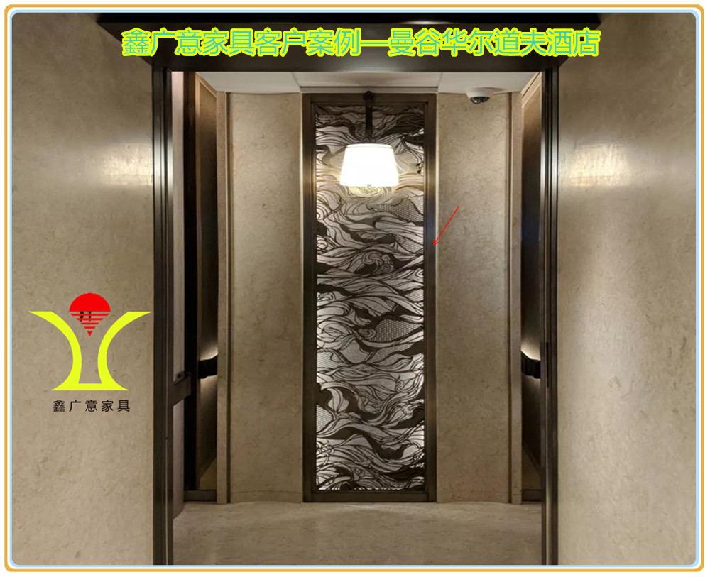 高端的酒店家具晶瑩璀璨華貴典雅鑫廣意金屬家具廠采用真空氮化鈦或碳化鈦鍍膜的方式