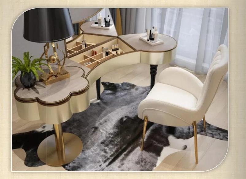 鑫广意卧室梳妆台适合梳妆打扮的时候的使用也和居室空间统一不会产生不协调的感觉