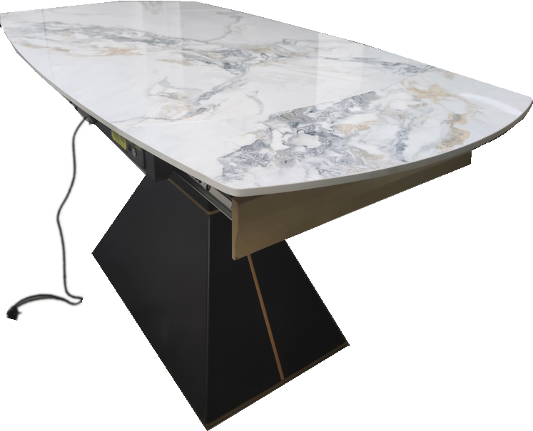 岩板餐桌成品销售|抗高温不需要在台面上垫垫子极易做清洁无污渍渗透-鑫广意