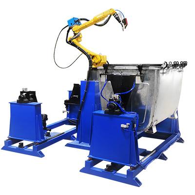 镀锌板大型金属垃圾桶焊接机器人工作站