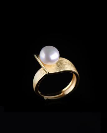 S925银拉丝梯形设计天然珍珠戒指