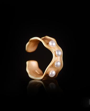 S925银欧风时尚设计天然珍珠戒指