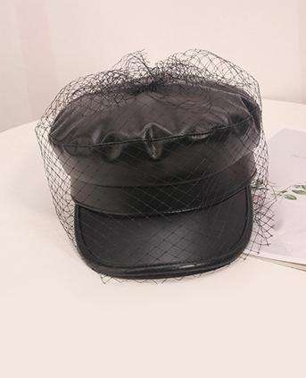 PU平顶贝雷帽-黑色
